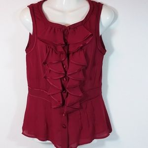 Nanette Lepore Sheer Dark Muted Red Top